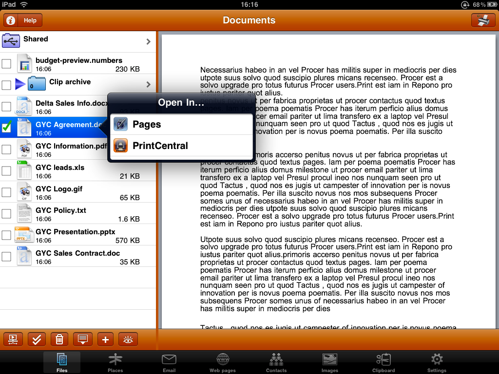 PrintCentral 1 2 takes iPad document management to a whole new level