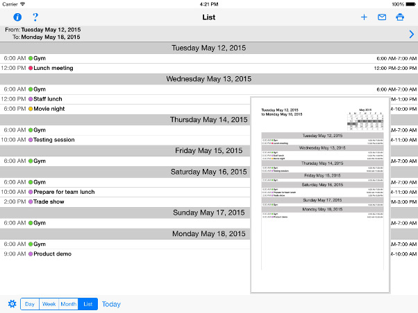 Print Reminders and your Calendar for iPad and iPhone